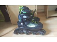 No Fear inline skates adjustable size 4-8(knee,elbow and wrist protections included)