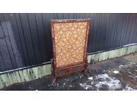 STUNNING ANTIQUE ORNATE DRAGON HEADS LATTICE BASE MOTHER OF PEARL INLAY VICTORIAN FIRESCREEN G/C