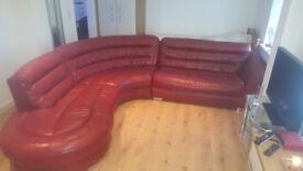 Large Red Genuine Leather Corner Sofa