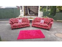 3&2 seater sofa in wine coloured fabric, was £2500 new from Creations, we need £345! Bargain!