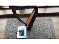 Rosewood 19 String Harp with Guide Book and Tuner.