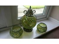 Green glass lantern and tea light holders