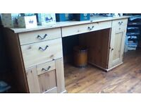 """LOVELY SOLID WOOD DESK..W-5' H-29"""" D-26"""", NO OFFERS AS GENUINE BARGAIN, PLEASE SEE ALL ADS & PICS"""