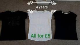 4 years girls bundle of tops