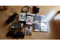 Xbox 360 slim (250GB), 3 controllers, 7 games + Kinect and remote