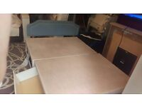 Double divan bed base with headboard and 2 draws