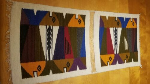 Vintage Atomic Fish MCM Textile Art Woven Wool Wall Hanging MCM Tribal ABSTRACT