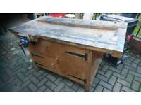 A solid ex school wooden workbench. Obvious wear and tear! Working vice, selling to make space!