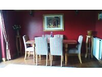 DINING TABLE AND 6 HIGH BACK UPHOLSTERED CHAIRS..BARGAIN