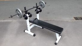 WEIGHTS BENCH & 40KG WEIGHTS WITH CAST IRON DUMBBELL SET & LONG BARBELL