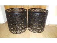 2x Lampshade. Black metal. £2 each or both for £3.50