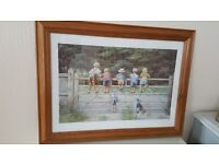 'Bottoms up!' print by Spencer Coleman in a top quality pine frame, excellent condition