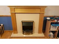 Electric fire, surround and marble hearth