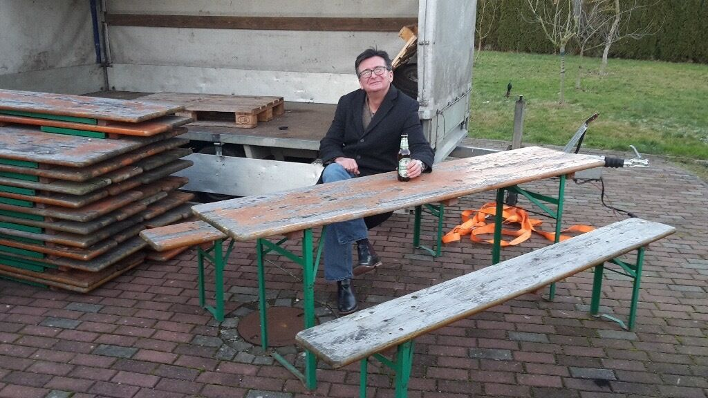 industrial table German Beer table and bench set 10 available | in ...