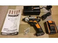 *WORX* 20V Cordless Impact Driver,New 2ah battery and Fast charger Bundle.