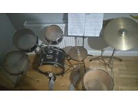 Kids starter drum set used condition with music stand