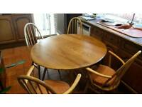 1960s Vintage/Retro Ercol Elm drop leaf dinning table and chairs