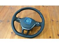 GENUINE VW STEERING WHEEL 2017 MULTIFUNCTIONAL + SHIFTPADS + AIRBAG, GOLF, EOS, SHARAN, POLO, ETC