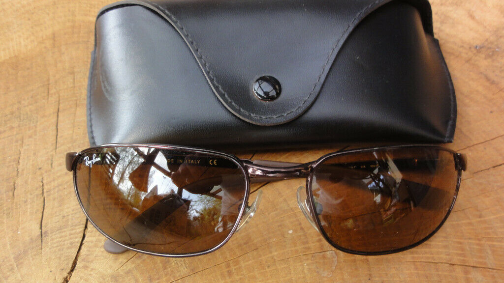 3ef6896438867 GENUINE RAY BAN RB3176 FLIGHT 60  17mm BROWN POLARIZED FLEX METAL WRAPs  SUNGLASSES NEW CONDITION.