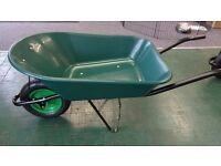 GREEN PLASTIC 85L WHEELBARROW