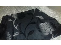 Black and Grey Flower Design Curtains