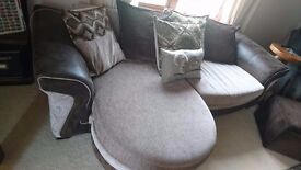 Like new DFS sofa wih pillows and free legs puffy