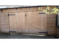 Solid Wood Treated Barn Garage Doors Heavy duty! 10 X 6 Ft - 5 X 6ft each door.