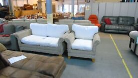 PRE OWNED Wicker 2 Seater + Chair with Fabric Cushions