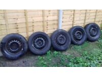 5 X CORSA STEEL WHEELS WITH 185X70X14 TYRES IN VERY GOOD CONDITION