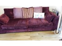 Burgundy 4/5 seater and cuddle chair