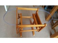 Rocking wooden stand for moses basket, used but very good condition.