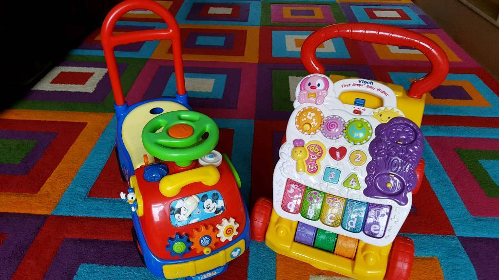 Mickey Mouse ride on car + Vtech baby walker