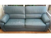 Leather 3 seat sofa - blue