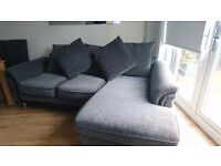 Charcoal black 3 seater corner sofa