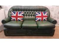 Chesterfield sofa antique green leather. Delivery available
