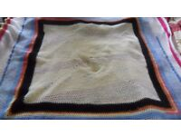 Hand Crochet Wool Blanket Throw Squares Bed Camper Van Wheelchair RETIRED GREYHOUND RESCUE CHARITY