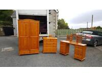 Solid pine wood combination wardrobe,2 over 4 dresser and dressing table £175 the lot!