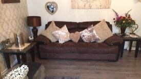 Large three seater sofa brown suede lovely condition can be delivered