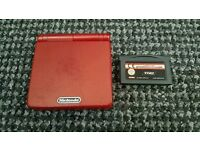 Red gameboy sp with 1 game