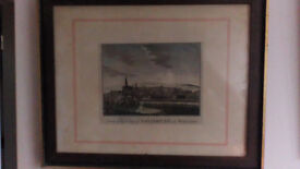Old Picture of the city of Salisbury in Wiltshire + frame