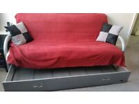 3 Seater Bed Settees. 4 in Total. Metal Frames with storage. Easy Assembly.Good Condition.Quick Sale