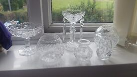Six pieces of cut class vases and ornaments
