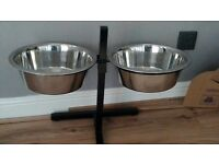Extra large dog bowl stand with metal bowls