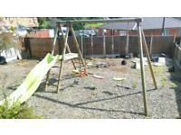 Swing slide and seesaw set