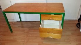 Sturdy wooden desk with a metal frame