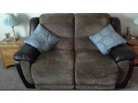 2 seater manual recliner with matching power recliner chair