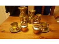 brass toby jugs and tea set