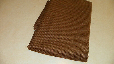 Medium Brown Gold Check Chenille Upholstery Fabric Remnant  1 Yard -
