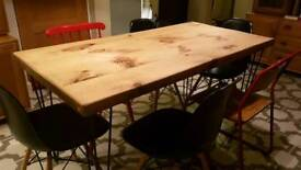 Vintage Industrial Table with hairpin legs
