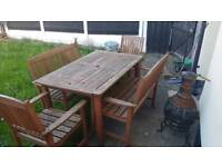 5 piece wooden garden patio set